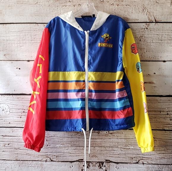 *NEW* Vintage PAC-MAN Japanese Writing Windbreaker Jacket *Unisex* Pull-Over
